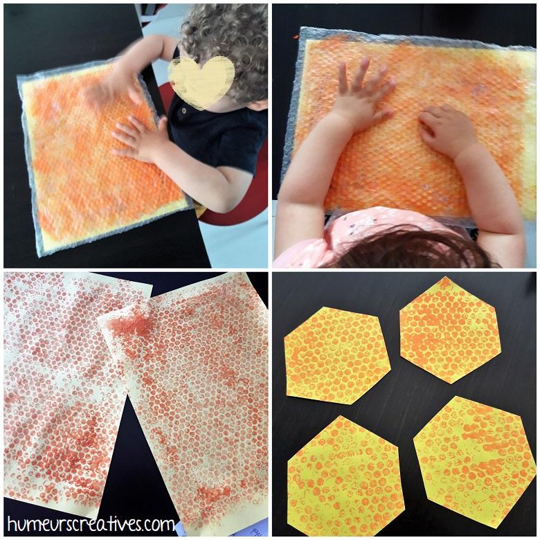 réalisation d'empreintes de papier bulle pour faire la ruche