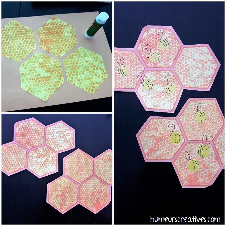 découpage et collage pour réaliser la ruche et les abeilles