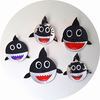 Bricolage pour enfants : baby shark assiette en carton