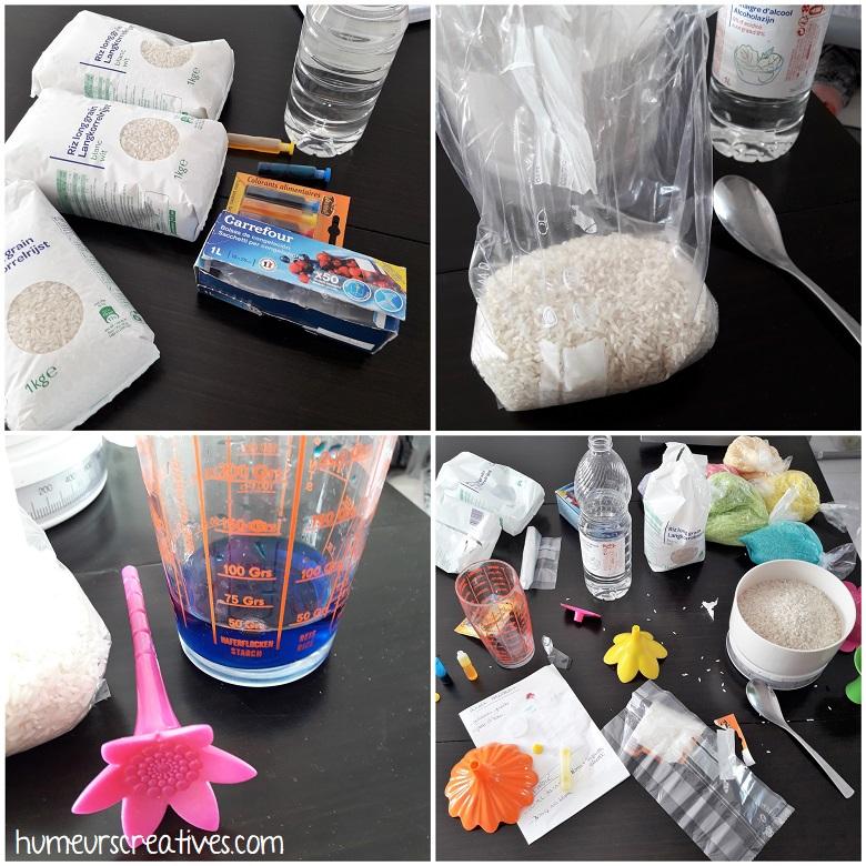recette du riz coloré, les différentes étapes