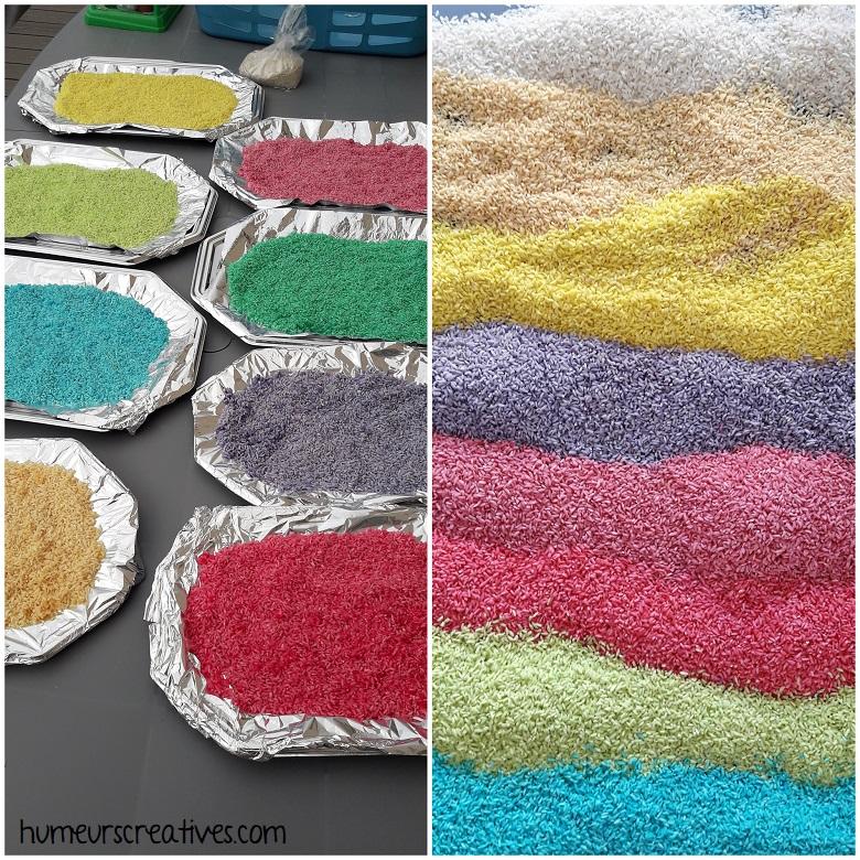 séchage du riz coloré