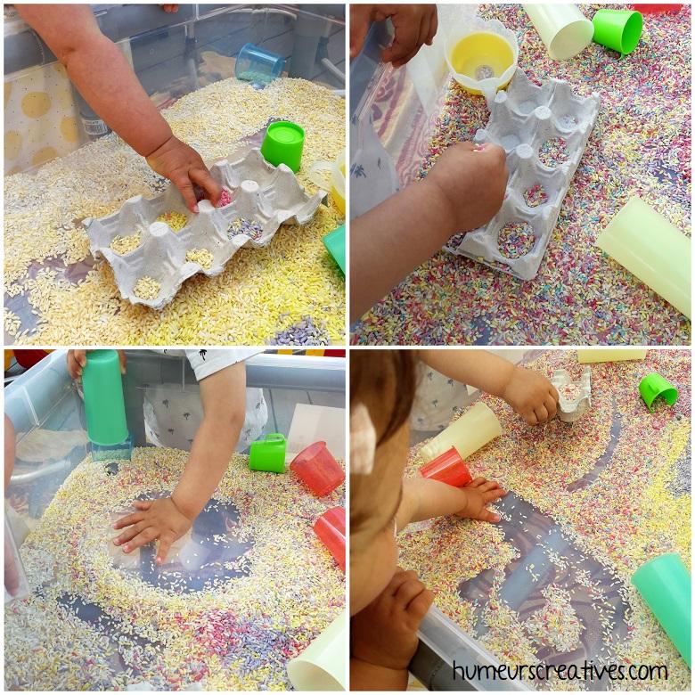 jouer avec le riz coloré