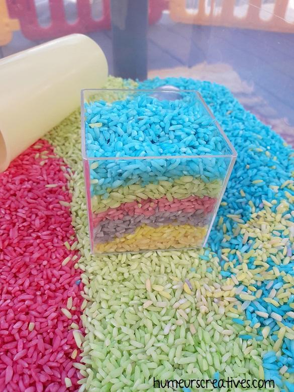 pot décoration en riz coloré