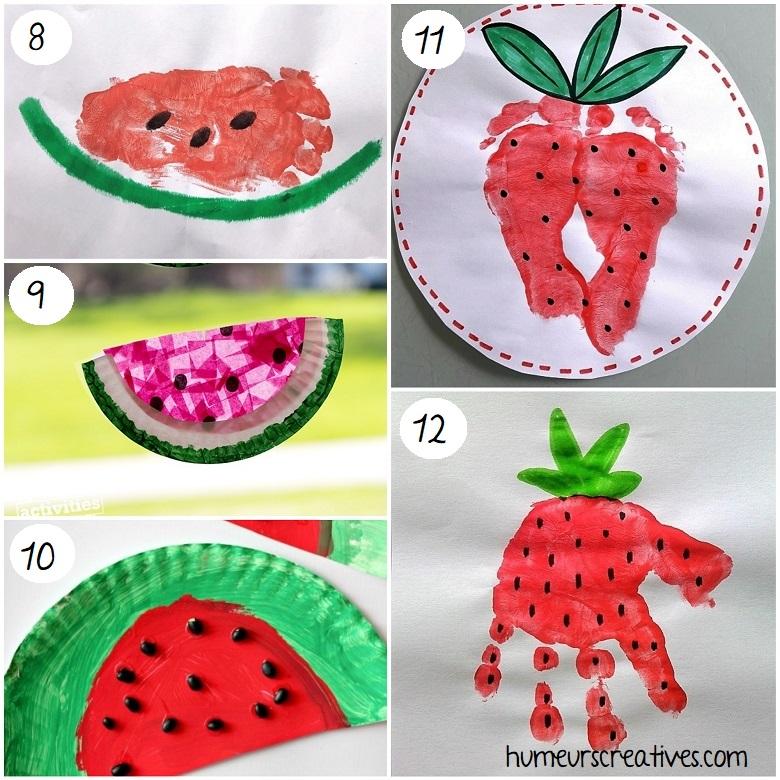 des bricolages de pastèques et de fraises