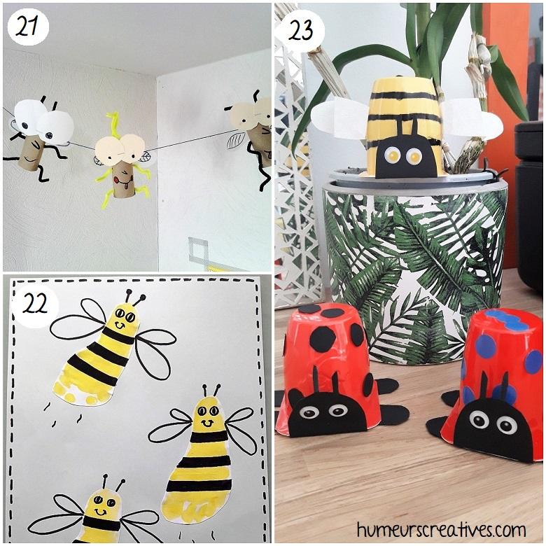 des bricolages de coccinelles, d'abeilles ou encore de moustiques