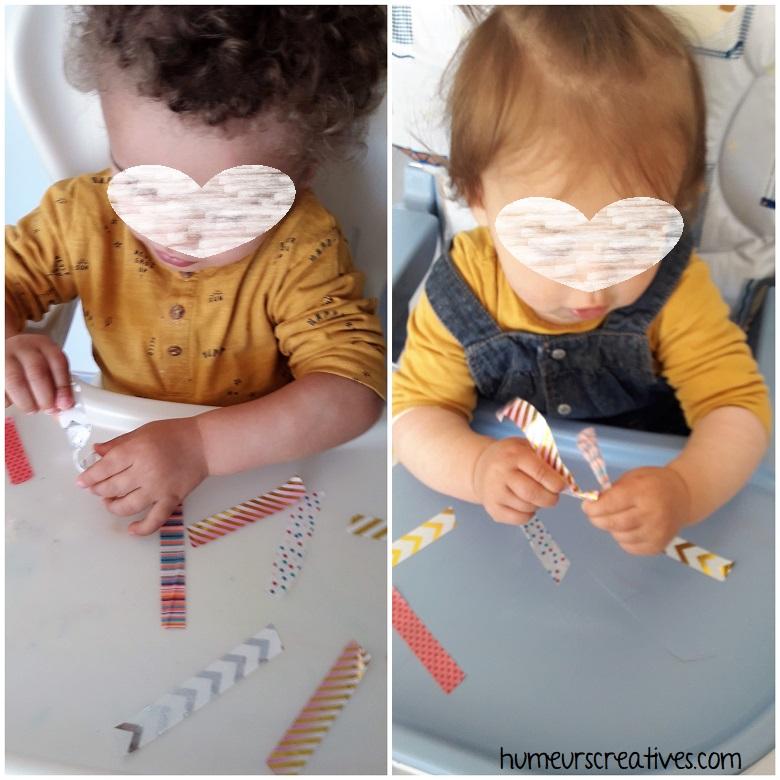 les enfants s'amusent avec le masking tape qui collent sur leurs doigts