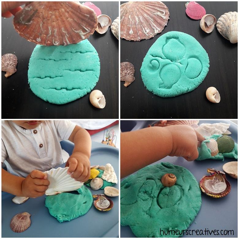 faire des empreintes de coquillages dans la pâte à modeler