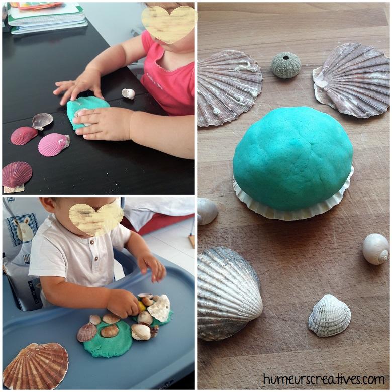 découverte de la pâte à modeler bleue et des coquillages par les enfants