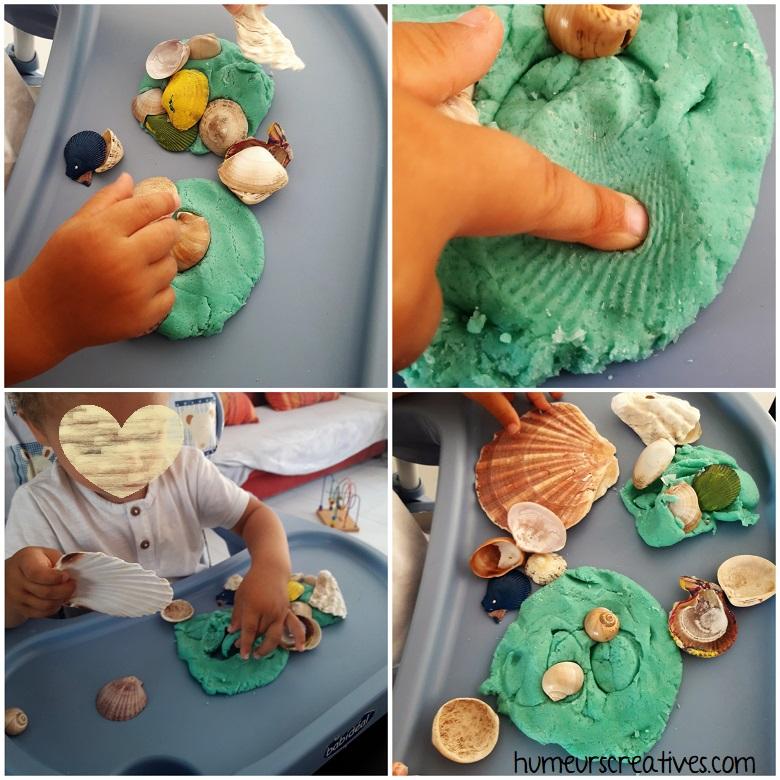 réalisation de jolies créations avec les coquillages et la pâte à modeler