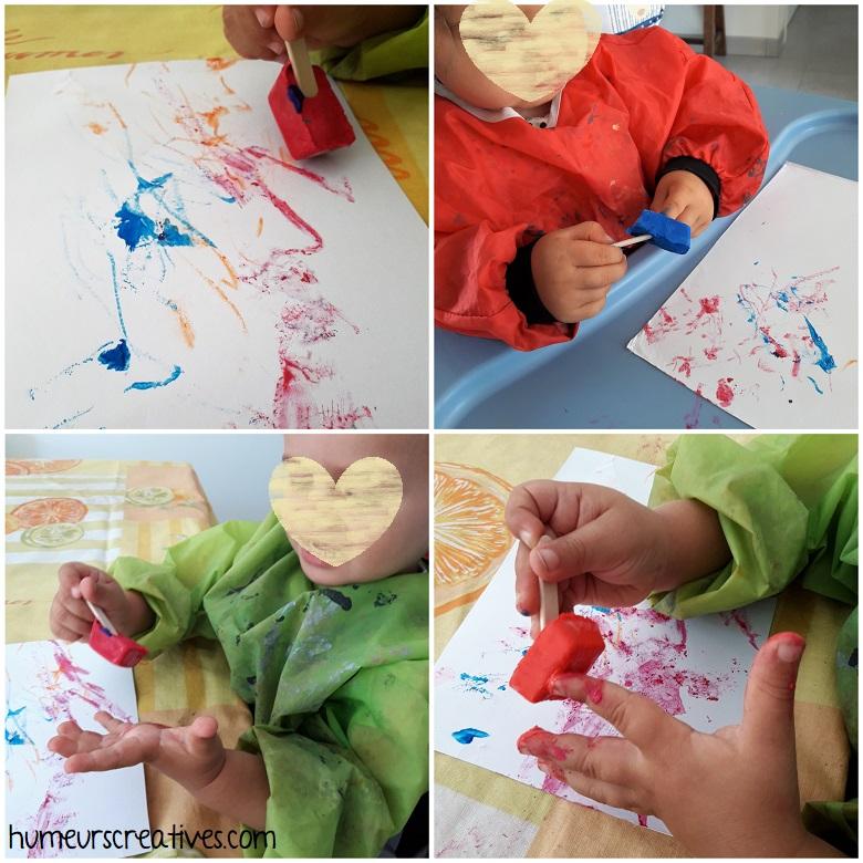 les enfants utilisent la peinture glacée
