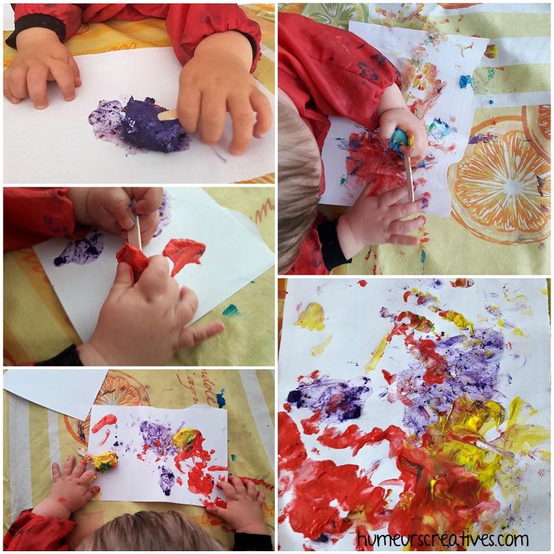 activité bébé ; la peinture glacée