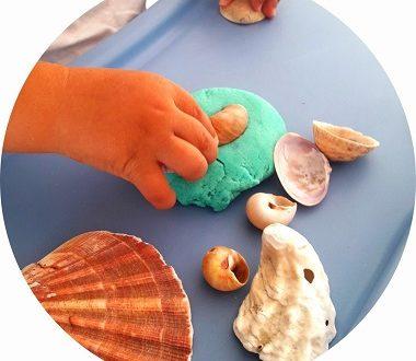 activité pâte à modeler et coquillages