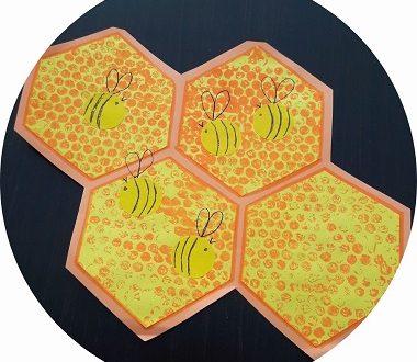 Activité manuelle pour enfants : fabriquer une ruche en peinture avec des abeilles