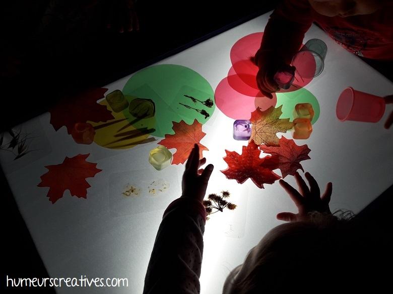 Activité d'automne pour enfants sur la table lumineuse