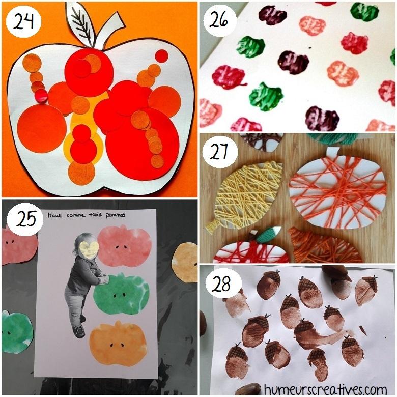 Bricolages d'automne pour enfants : des pommes et des glands