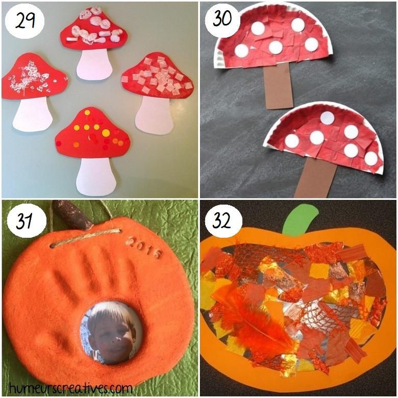 Bricolages d'automne pour enfants : champignons et citrouilles