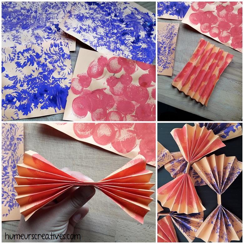 réalisation des noeuds papillon en papier - pliage en accordéon