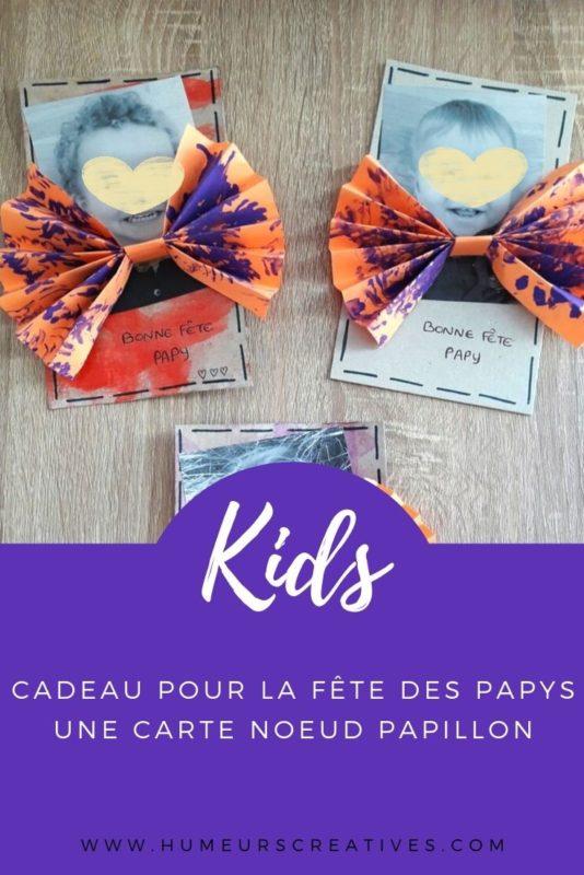Bricolage pour la fête des papys : une carte noeud papillon réalisé par les enfants