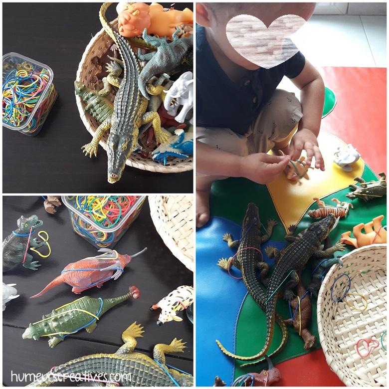 délivrer les animaux des élastiques - activité des plus grands enfants