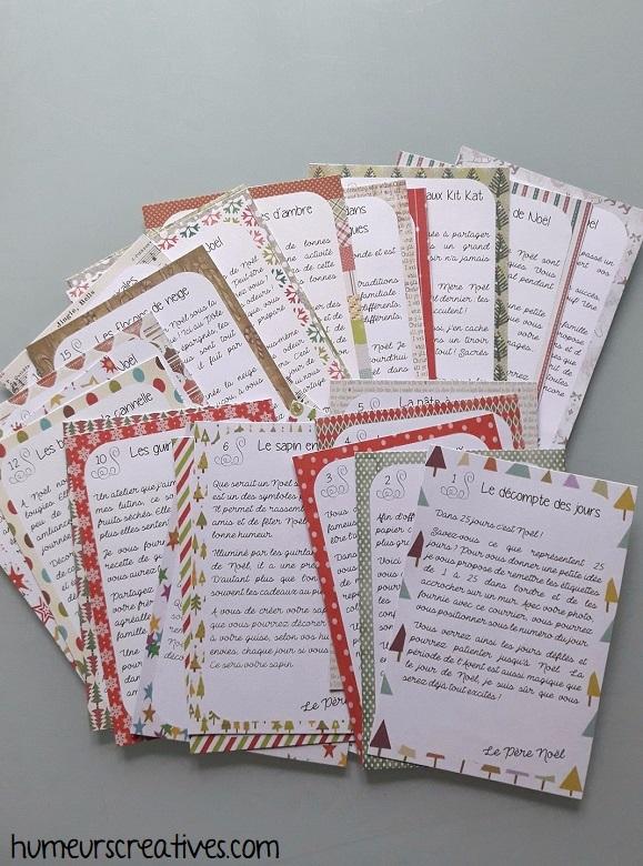 cartes de la boite aux lettres de l'avent sur l'esprit de noel