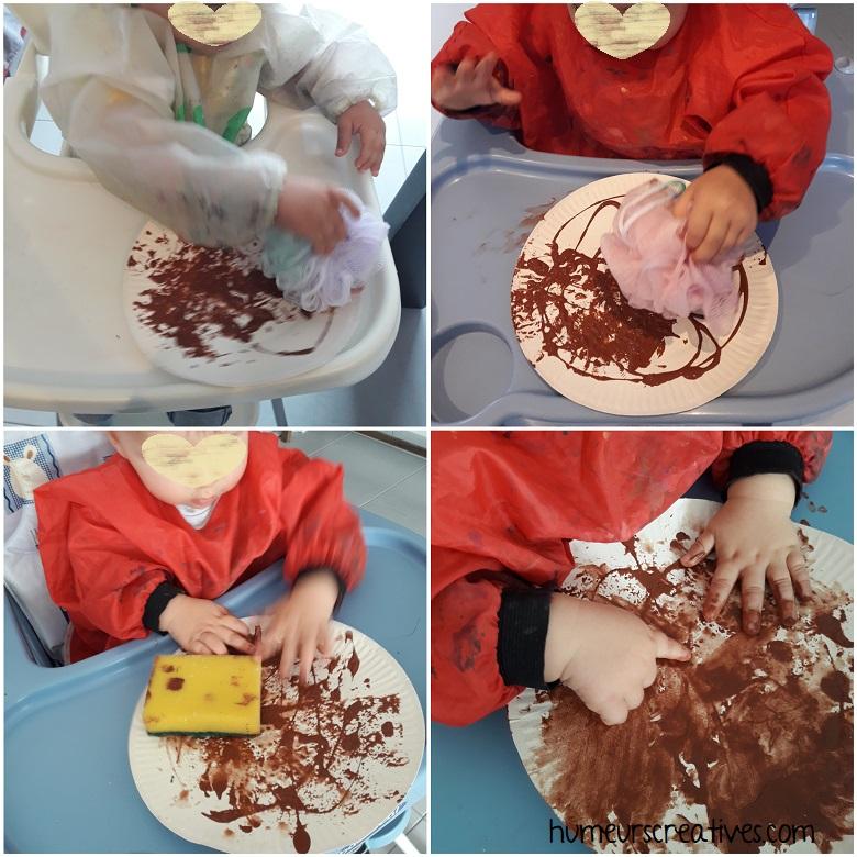 peinture sur une assiette en carton pour réaliser un hérisson avec les enfants