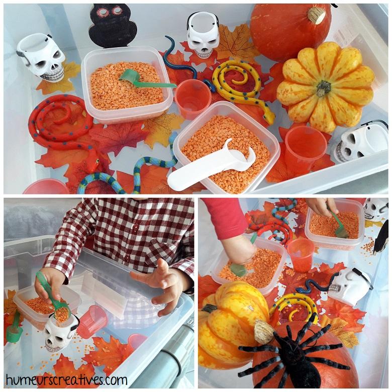 bac sensoriel Halloween pour les enfants - transvasement lentilles corail