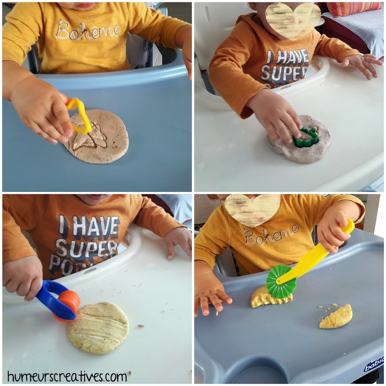 Réalisation d'empreintes avec des emportes pièces dans la pâte à modeler + utilisation de rouleaux