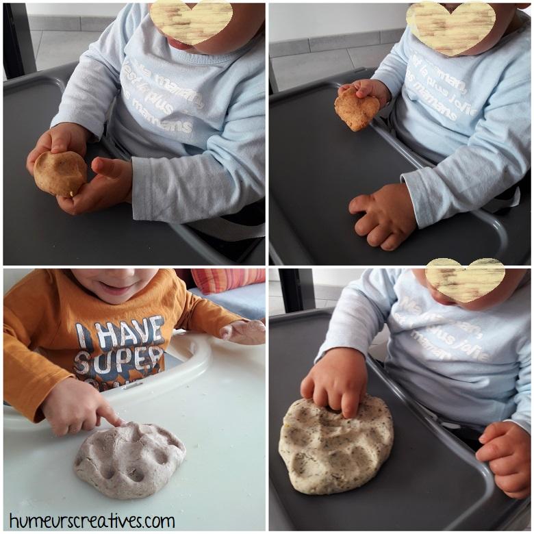 découverte de la pâte à modeler par les enfants / on enfonce nos doigts dans la pâte