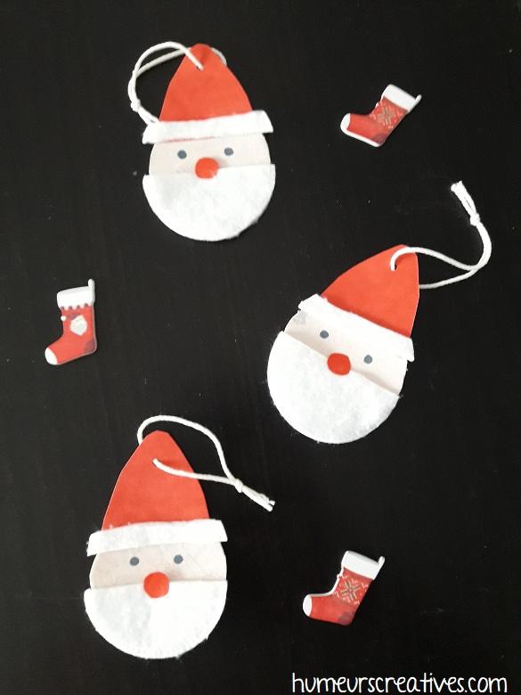 suspension de noel en forme de Père Noël realisées par les enfants