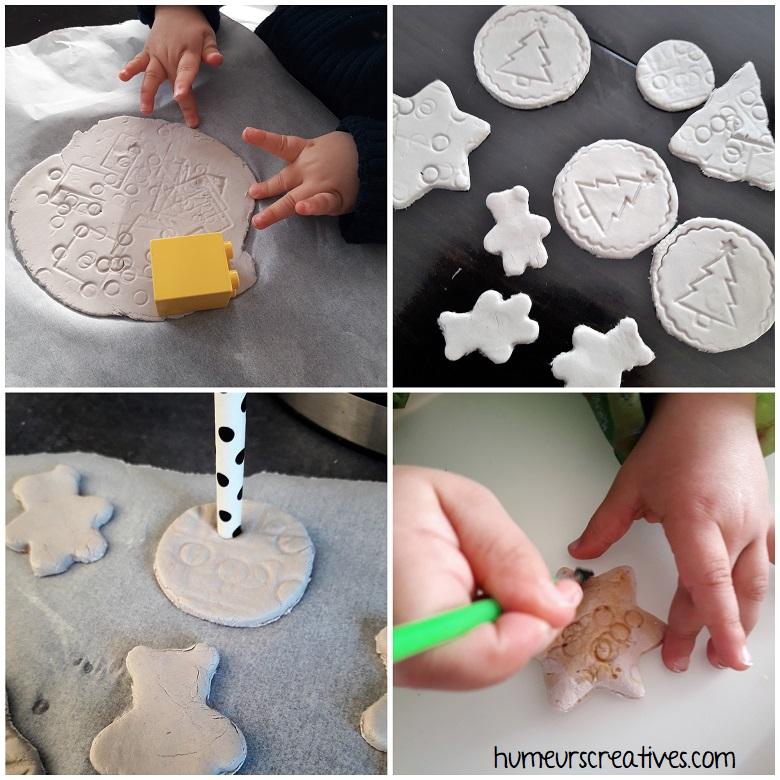 réalisation de suspension de Noël avec de la pâte à sel par les enfants