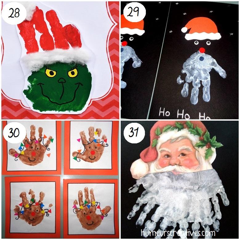 bricolages de noel en empreintes de mains à faire avec les enfants