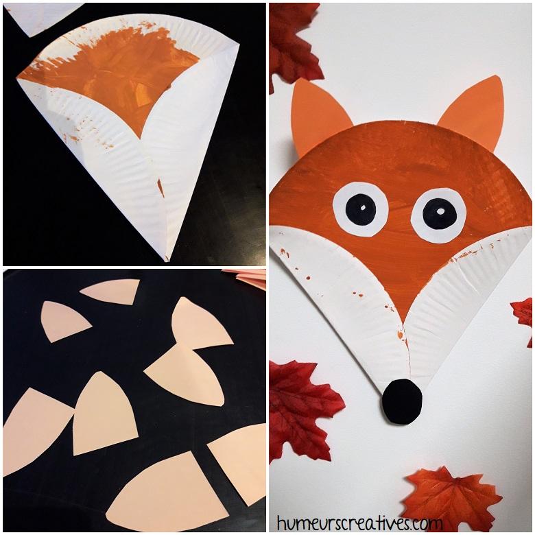 Assemblage des différents éléments pour réaliser notre renard avec une assiette en carton