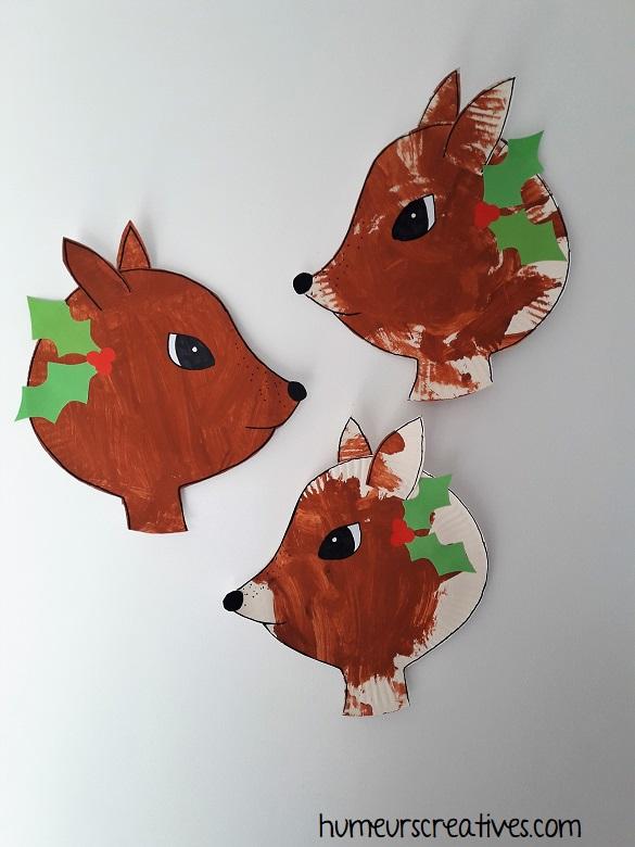 nos 3 biches fabriquées avec une assiette en carton