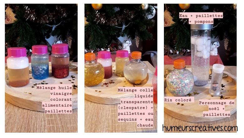 fabrication de bouteilles sensorielles de noel pour enfants