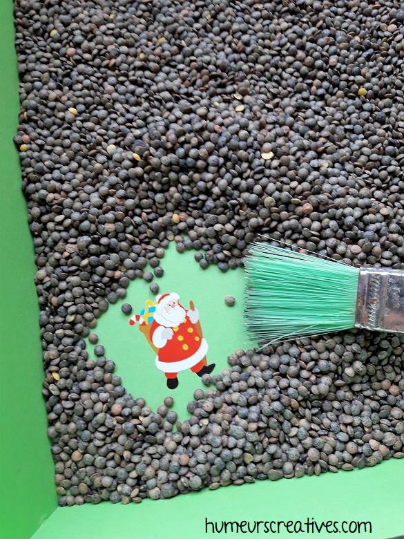 jeu de noel pour enfants : jeu de cache cache avec un pinceau