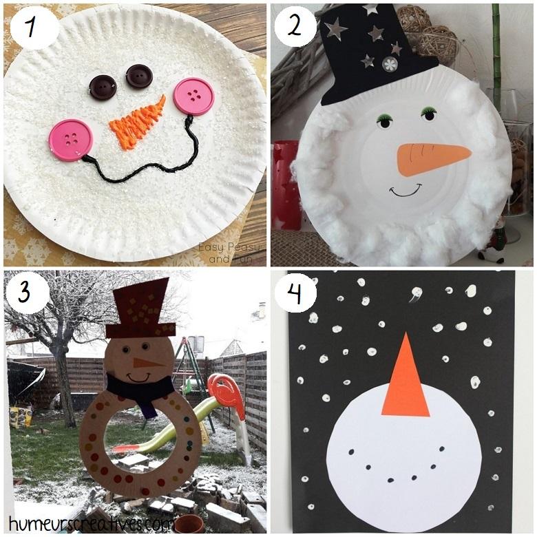Bricolage bonhomme de neige pour enfants
