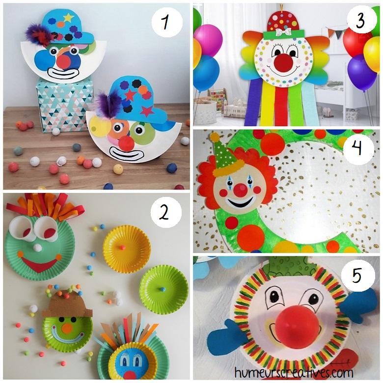Bricolage de clowns pour enfants en assiettes en carton