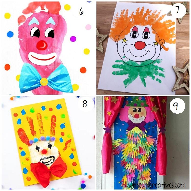 bricolages de clowns pour enfants en empreintes de mains et pieds