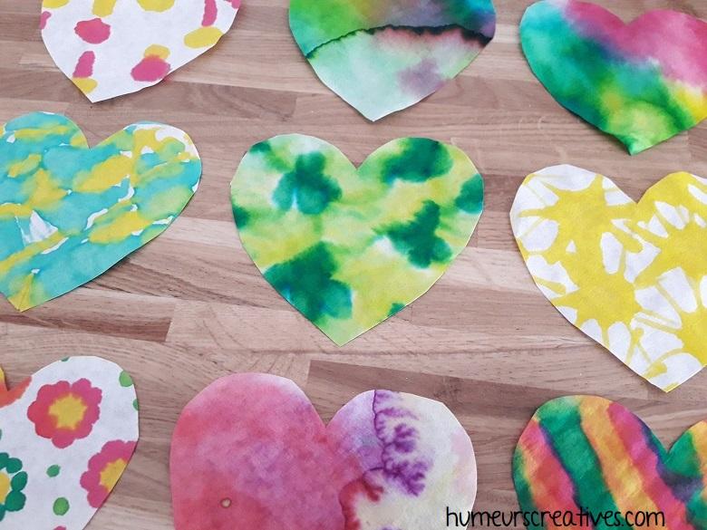 Nos coeurs en filtre à café, réalisés par les enfants