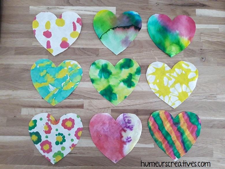 bricolage coeurs pour la saint valentin, une activité facile pour les enfants