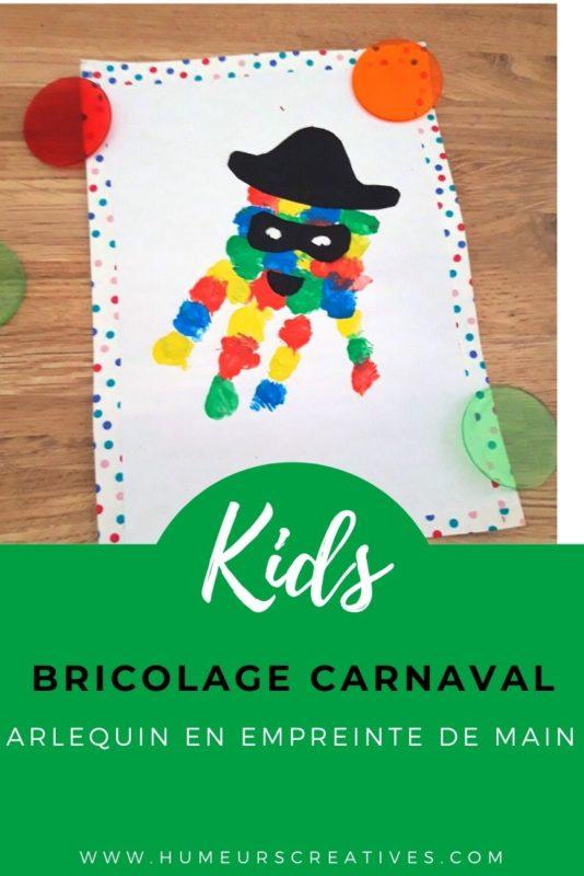 Bricolage carnaval pour les enfants : un arlequin en empreinte de main
