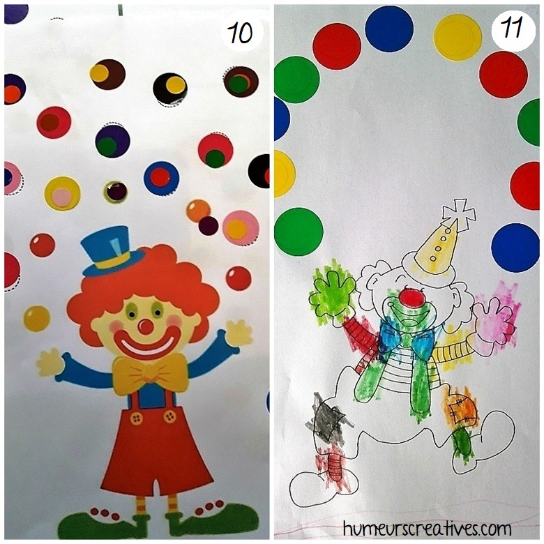 bricolage de clowns avec des gommettes