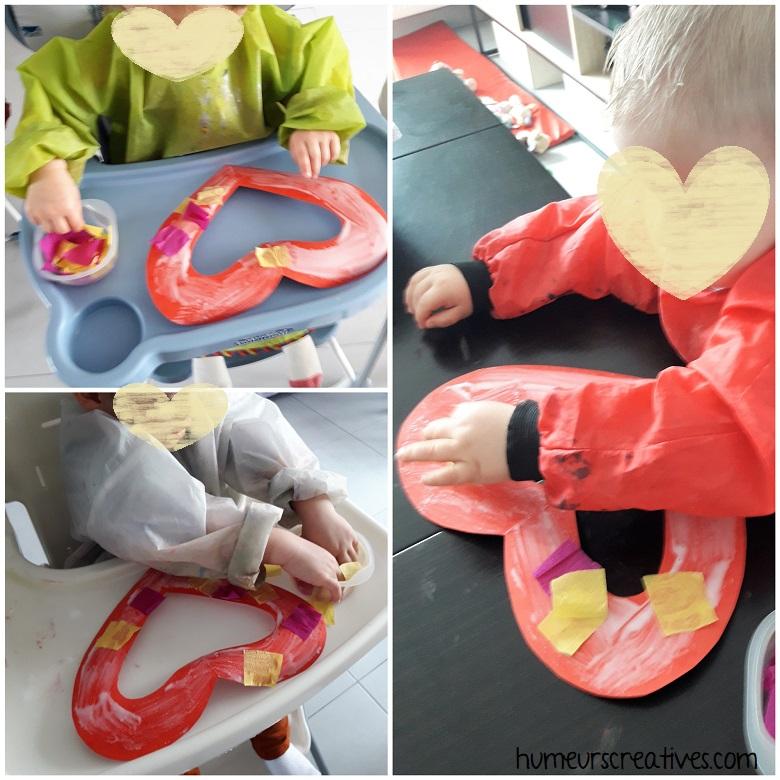 les enfants collent leurs morceaux de papier crépon sur leur coeur