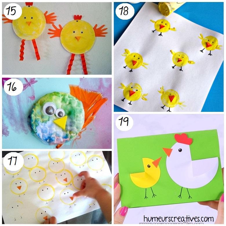 Bricolages de Pâques pour enfants : poules et poussins