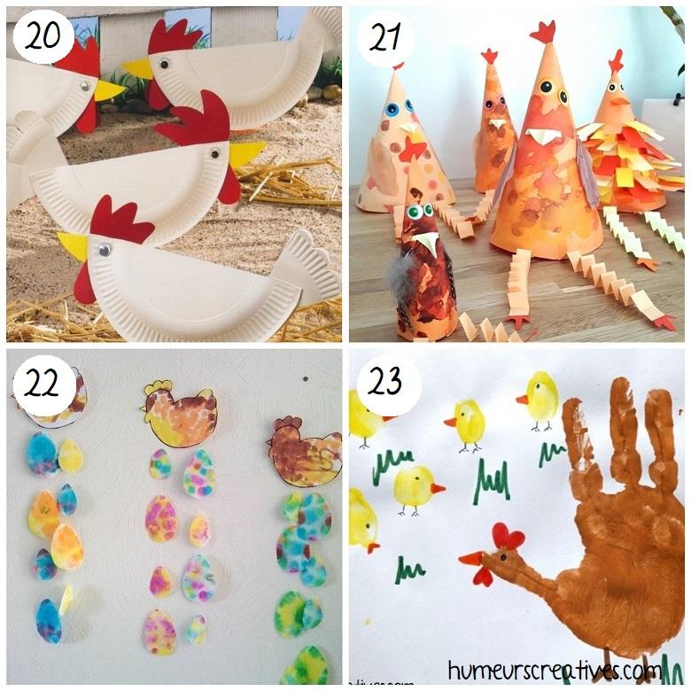 Bricolages de Pâques pour enfants : poules