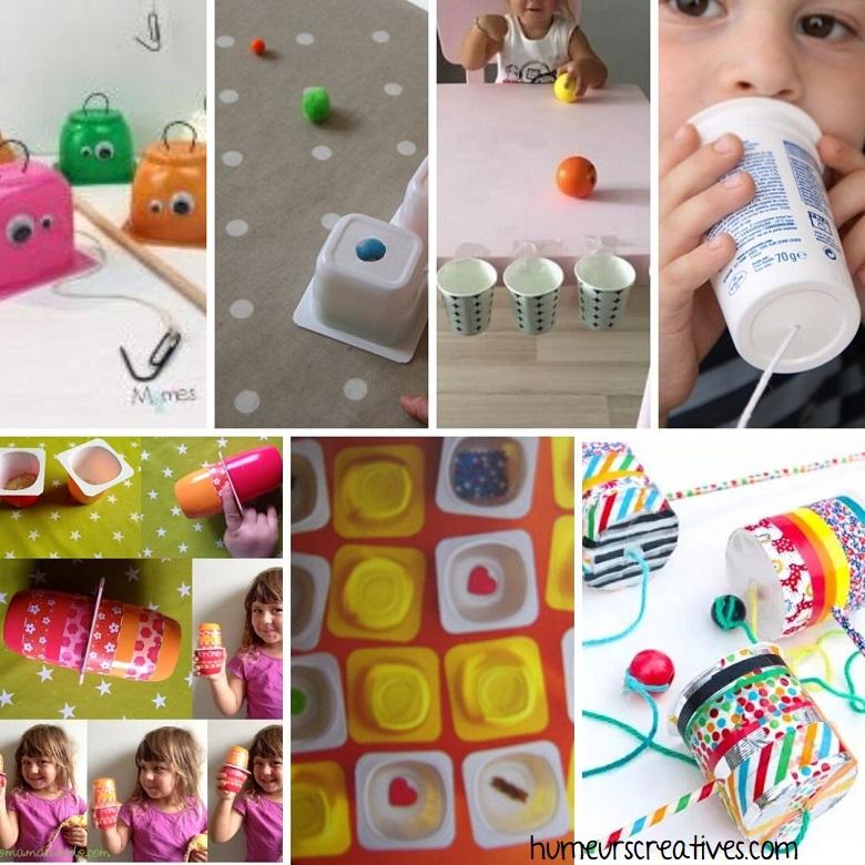 idées de jeux pour enfants à faire avec des pots de yaourts