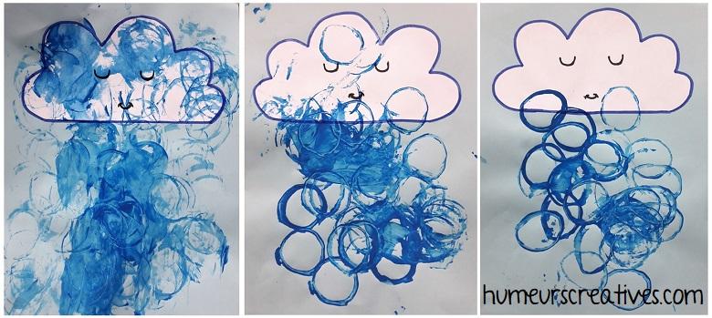 Bricolage pour enfants : représenter la pluie avec des rouleaux de papier toilette