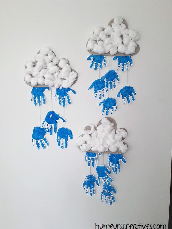 Nuage de pluie réalisé avec les enfants