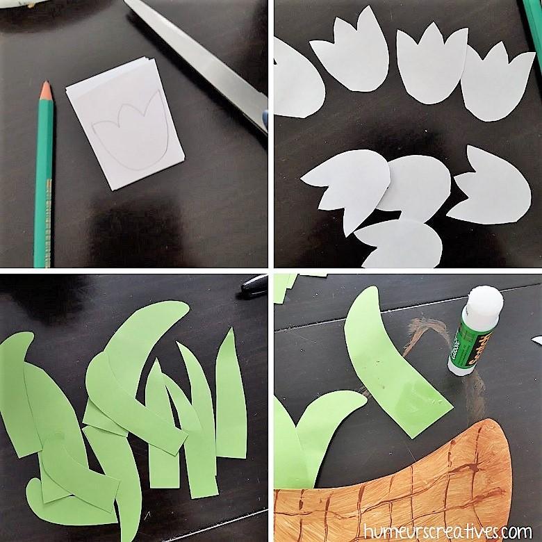 étape 2 : découpez des fleurs et des feuilles dans du papier