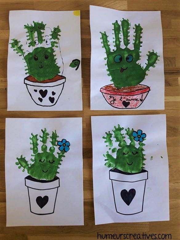 cactus en empreintes de mains